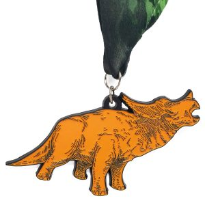 Virtual Strides Partner Virtual Race - Riley's Race to Benefit Nash Alkire Orange Triceratops Dinosaur Medal