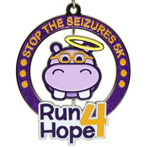 Virtual Strides Partner Virtual Race - Run 4 Hope Hippopotamus Spinner Medal