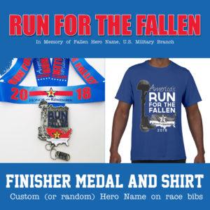 Virtual Strides Partner Virtual Race - America's Run for the Fallen Medal & Shirt
