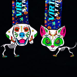 Virtual Strides Virtual Run - Run of the Pets Day of the Dead Dog and Cat Sugar Skull Medals