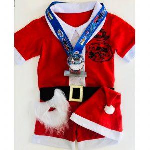 Virtual Strides Partner Virtual Race - Run Run Santa 2019 Snow Globe Medal and Santa Suit
