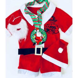 Virtual Strides Partner Virtual Race - Run Run Santa Santa suit and medal