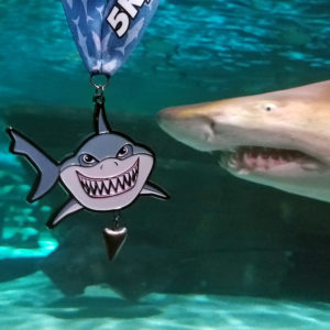 Virtual Strides Virtual Race - Shark Tooth - Shark Medal with Shark Tooth Charm