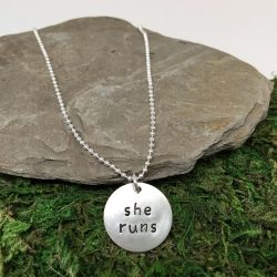 She Runs Hand-Stamped Sterling Silver Running Necklace