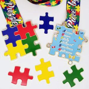 Virtual Strides Virtual Race - Solving The Puzzle Autism Medal