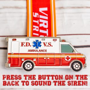 Virtual Strides Virtual Run - To The Rescue Virtual Run Ambulance medal with Siren Sound