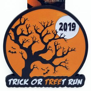 Virtual Strides Partner Virtual Race - Trick or TREEt Run - 2019 glow in the dark Halloween virtual race medal