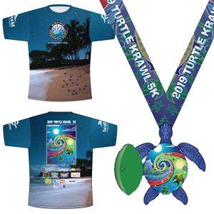 Virtual Strides Partner Virtual Race - Turtle Krawl 2019 Sea Turtle Medal & Tech Shirt