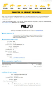 Wild Aid Virtual Race Charity Donation Receipt